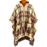 Poncho cape capuche laine tartan beige CHRISTEL