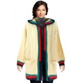 Gilet long capuche laine hiver beige DEAUVILLE