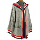Gilet long capuche laine hiver gris DEAUVILLE