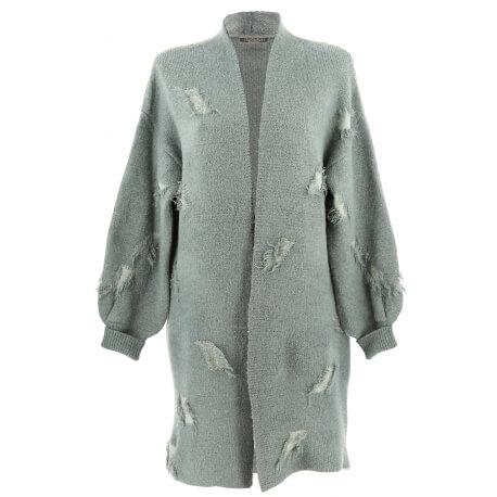 Gilet long laine manteau hiver bohème gris CHANTILLY