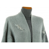Gilet long laine manteau hiver bohème gris CHANTILLY