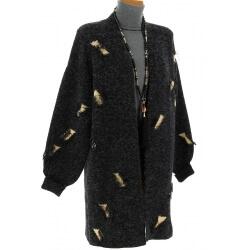 Gilet long laine manteau hiver bohème noir CHANTILLY