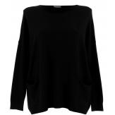 Pull tunique hiver poches ample noir ALINA