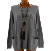 Pull tunique hiver poches ample gris ALINA