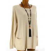 Pull tunique hiver poches ample beige ALINA
