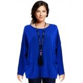 Pull tunique hiver poches ample bleu royal ALINA