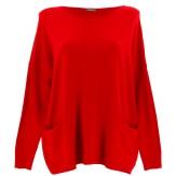 Pull tunique hiver poches ample rouge ALINA