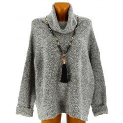Pull femme laine grand col bohème gris LYA