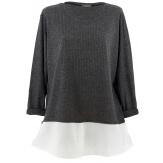 Tunique chemise  longue grande taille gris blanc PATY