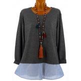 Tunique chemise  longue grande taille gris bleu PATY