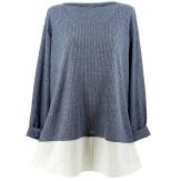 Tunique chemise  longue grande taille bleu blanc PATY