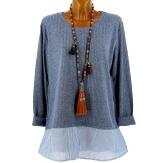 Tunique chemise  longue grande taille bleu jean rayé PATY