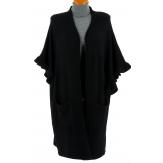 Gilet long poncho cape hiver noir ANDALOU