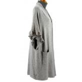 Gilet long poncho cape hiver gris ANDALOU
