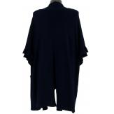 Gilet long poncho cape hiver bleu marine ANDALOU