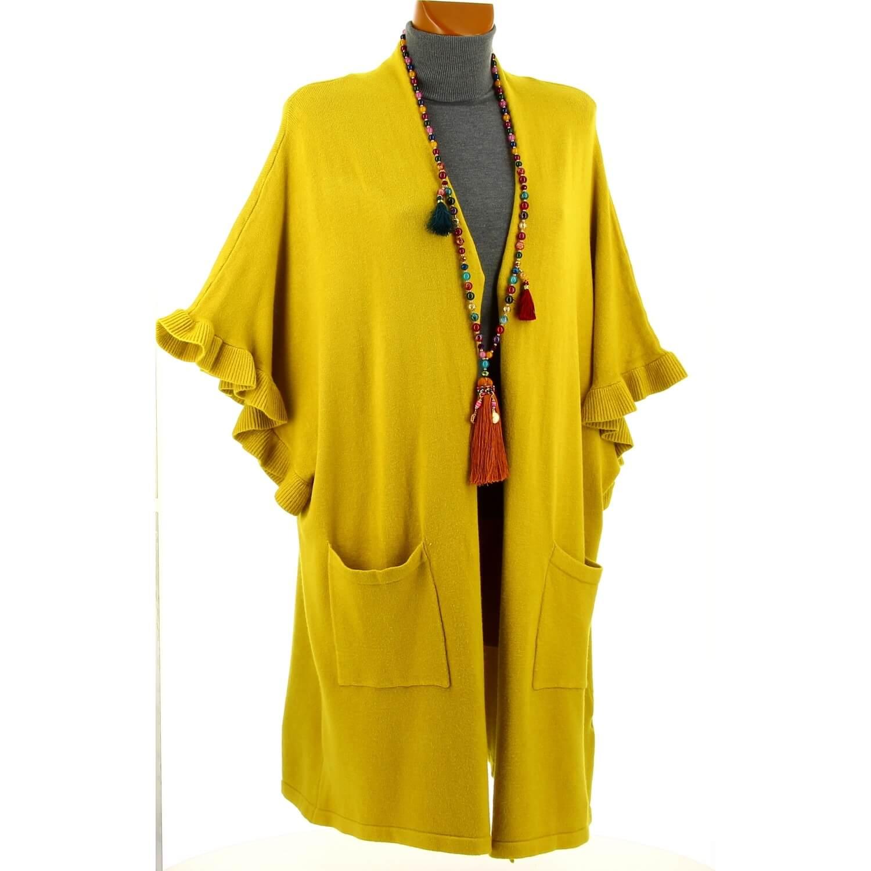 ae303c97b9f82 Gilet long poncho cape hiver moutarde ANDALOU