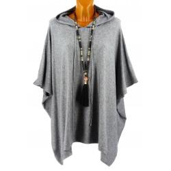 Poncho pull cape capuche hiver grande taille gris ATLAS