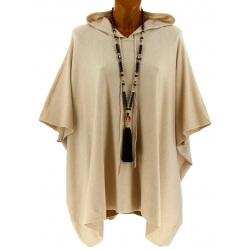 Poncho pull cape capuche hiver grande taille beige ATLAS