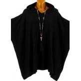 Poncho pull cape capuche hiver grande taille noir ATLAS