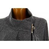 Gilet veste cape ample grande taille noir ROSY