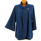 Gilet veste cape ample grande taille pétrole ROSY