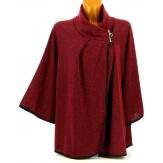 Gilet veste cape ample grande taille bordeaux ROSY