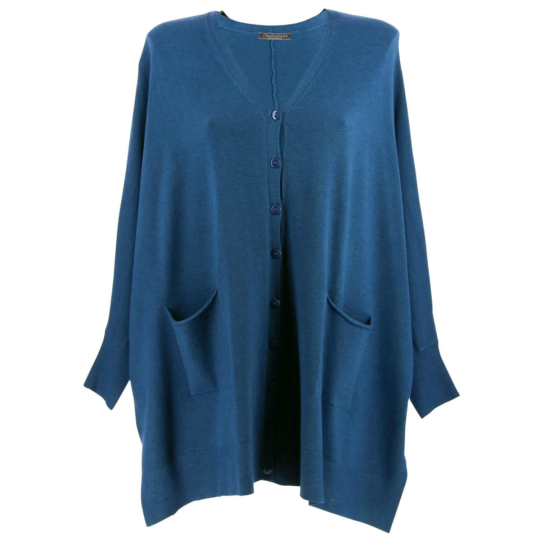 check-out 84c27 51d82 Gilet femme grande taille oversize bleu jean CLAIRE