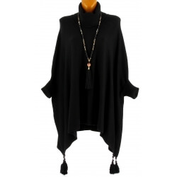 Poncho pull long hiver pompons grande taille noir PABLITO