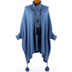Poncho pull long hiver pompons grande taille bleu jean PABLITO