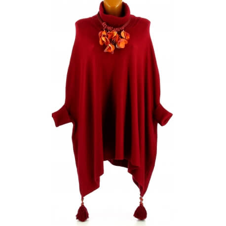 Poncho pull long hiver pompons grande taille bordeaux PABLITO
