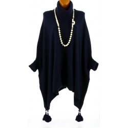 Poncho pull long hiver pompons grande taille bleu marine PABLITO