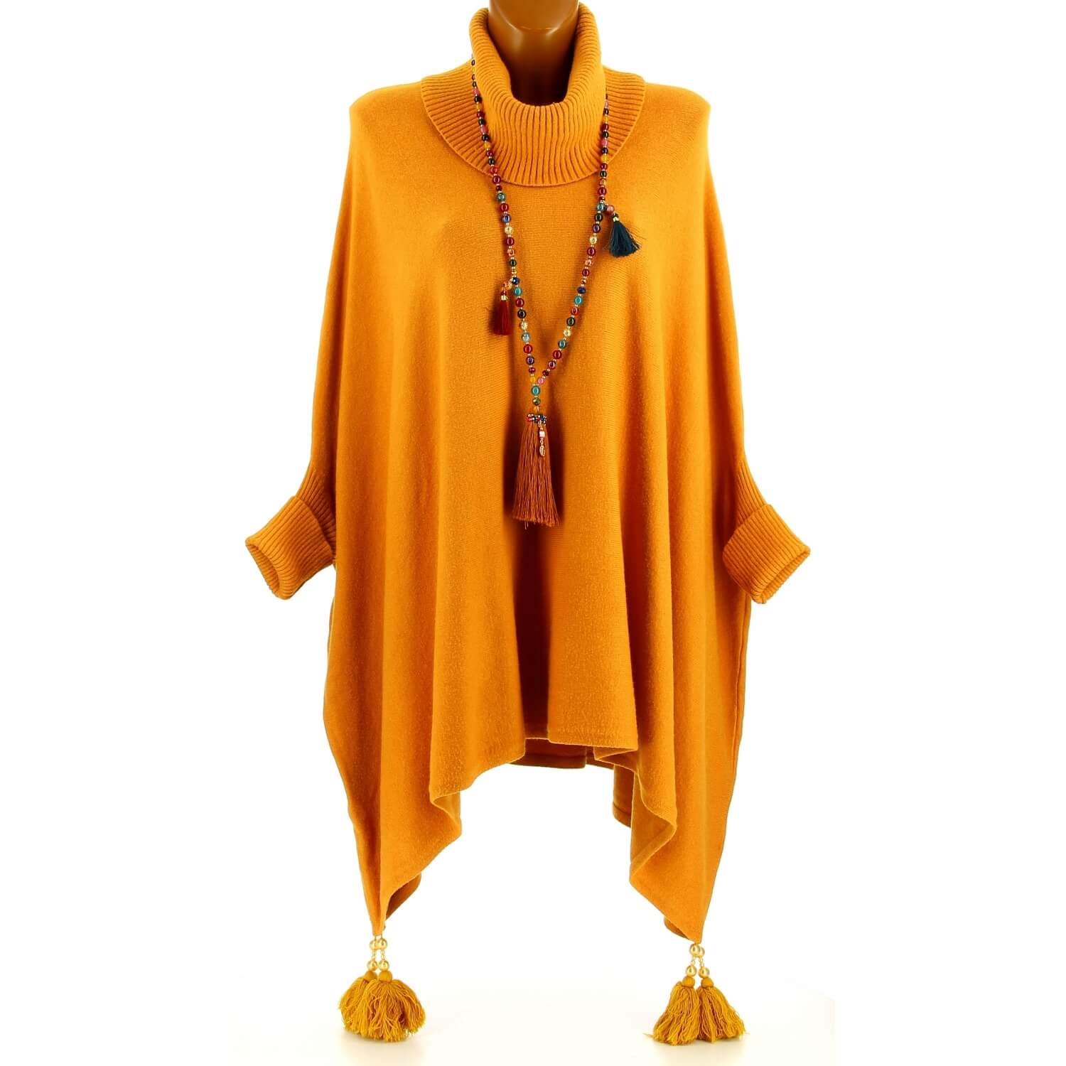 Moutarde Taille Pull Pablito Grande Hiver Long Pompons Poncho AYqaq8