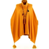 Poncho pull long hiver pompons grande taille moutarde PABLITO