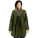 Manteau cape laine bouillie hiver grande taille kaki  VIOLETTA
