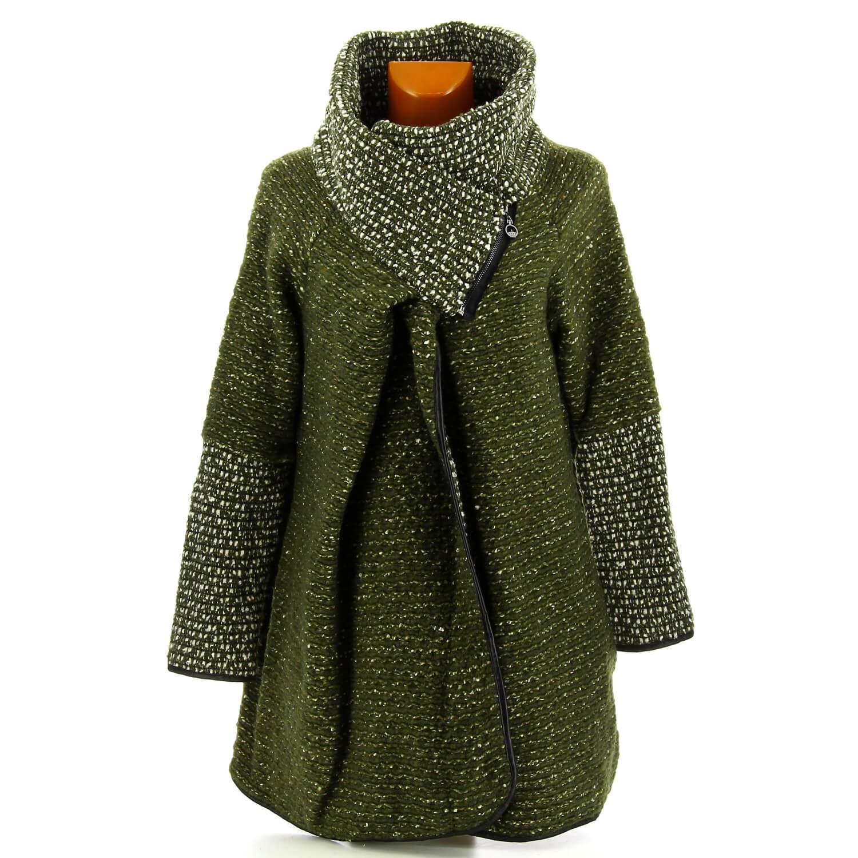 le dernier 7acee 142b2 Manteau cape laine bouillie hiver grande taille kaki VIOLETTA
