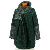 Manteau cape laine bouillie hiver grande taille vert sapin  VIOLETTA