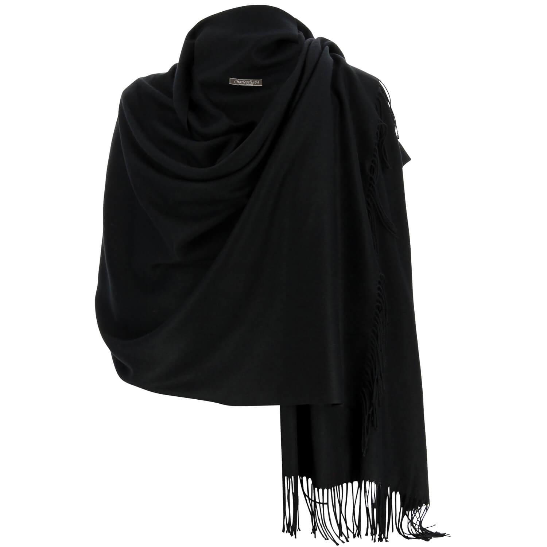 af9d76ab6aee Etole châle écharpe cachemire laine noir BERTRAND