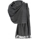 Etole châle écharpe cachemire laine gris BERTRAND