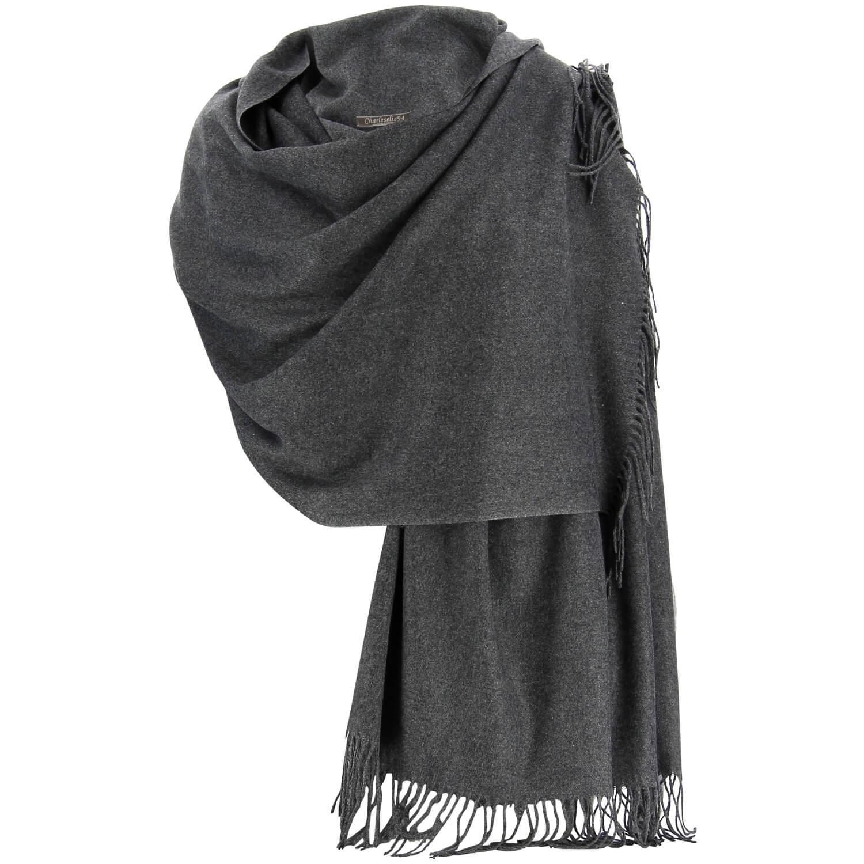 fe45a70d0a Etole châle écharpe cachemire laine gris BERTRAND