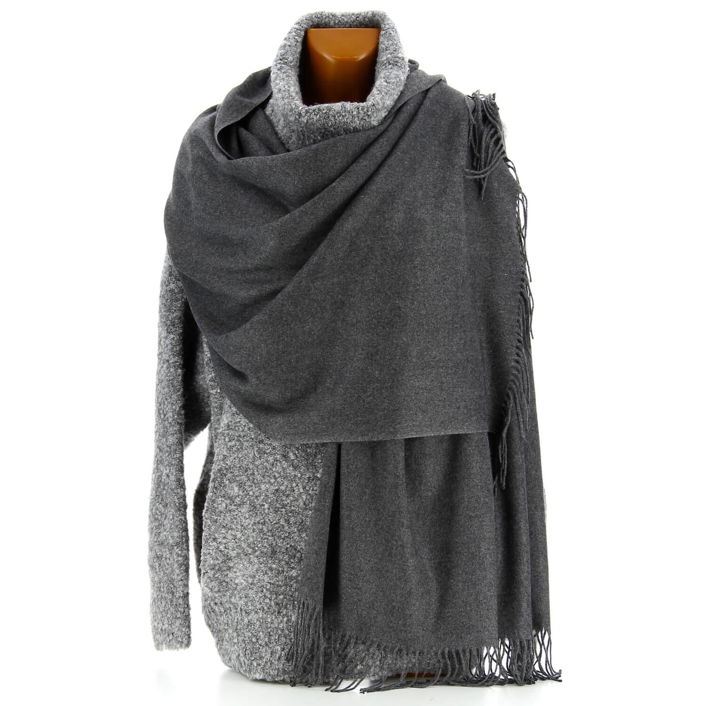 0c341e31183a Etole châle écharpe cachemire laine gris BERTRAND