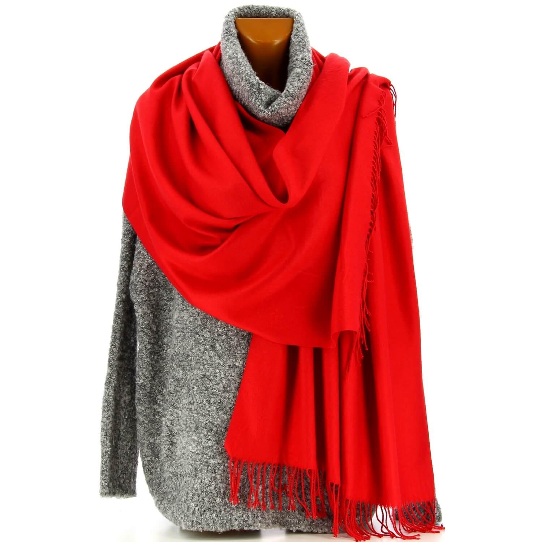 e413718fef Etole châle écharpe cachemire laine rouge BERTRAND