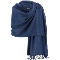 Etole châle écharpe cachemire laine bleu jean BERTRAND