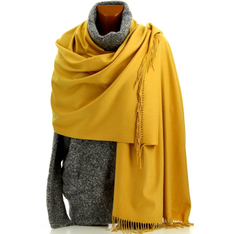 4273c169bb Etole châle écharpe cachemire laine moutarde BERTRAND