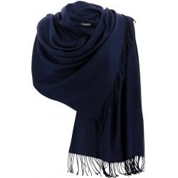 Etole châle écharpe cachemire laine marine BERTRAND