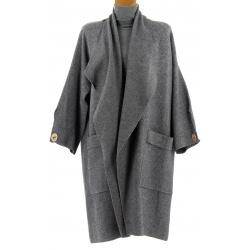 Manteau femme grande taille hiver angora gris LUIGI