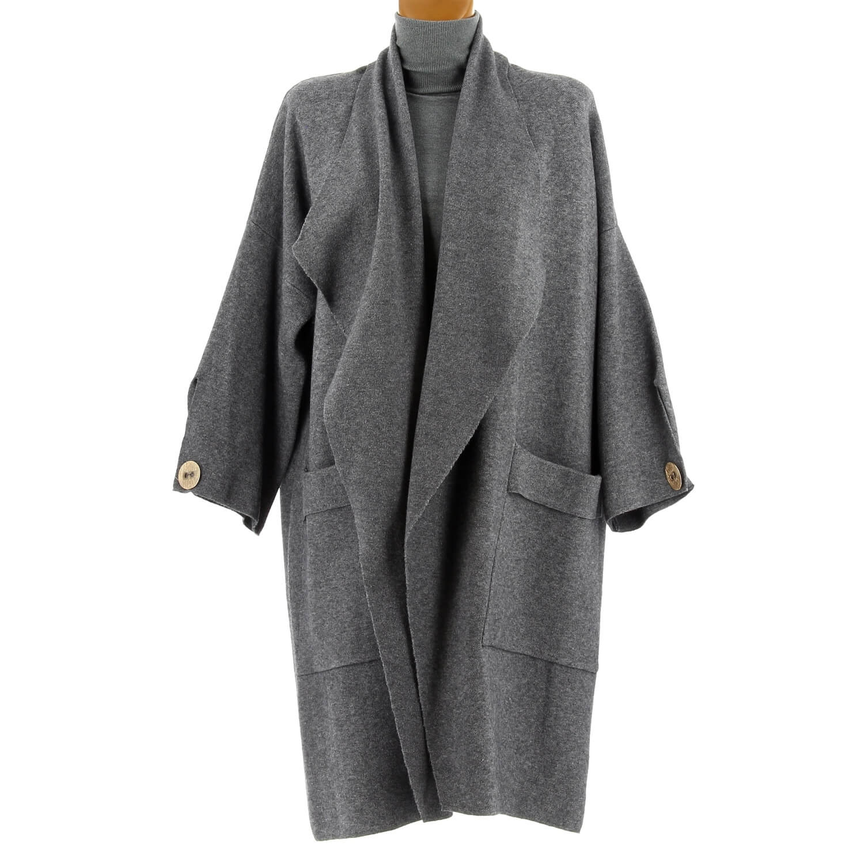 acheter en ligne b834d 8e82b Manteau femme grande taille hiver gris LUIGI
