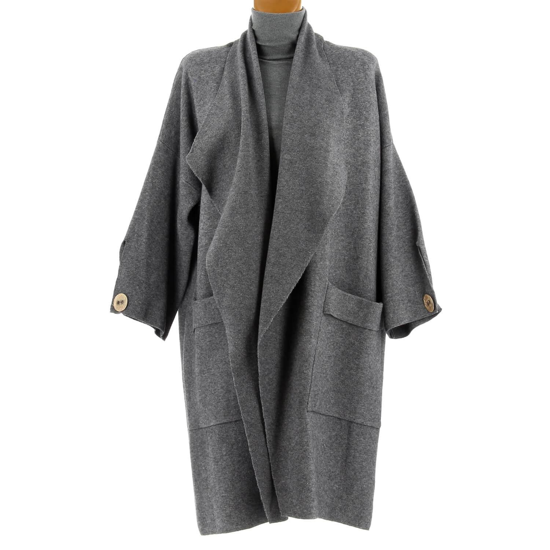 61be3bb9d07e Manteau femme grande taille hiver angora gris LUIGI. Loading zoom