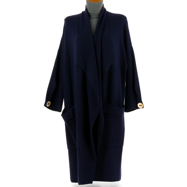 ddb771775da8 Manteau femme grande taille hiver angora bleu marine LUIGI. Loading zoom