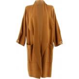 Manteau femme grande taille hiver angora camel LUIGI