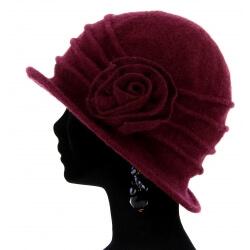 Bonnet chapeau cloche laine CATHERINE Wine Bonnet femme